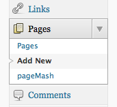 WordPress Pages menu showing Add New