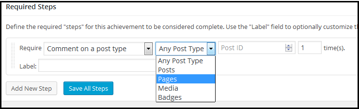 WP required steps comment
