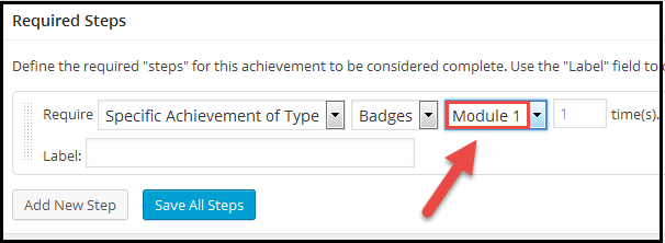 WP required steps specific badge