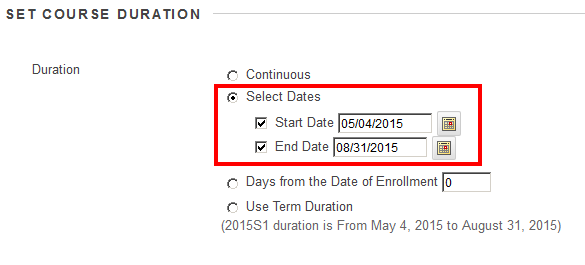 use the 'Select Dates' radio button and specify the 'Start Date' and 'End Date' so LOCR can adjust these dates to make items available accordingly