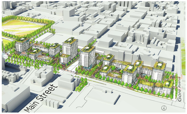 Conceptual illustration of potential mixed-use residential and commercial development centred around main street corridor.