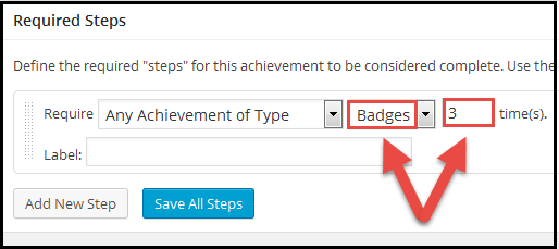 WP required steps any badge