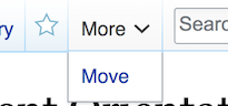 Access the move link via the drop down arrow tab at the top of the wiki