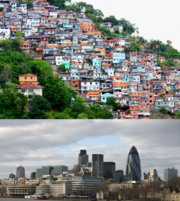"""Figure 20.11 includes two photos. The first photo shows crowded buildings located on the hillside. They are small and shabby. The second photo shows magnificent buildings located by water."""