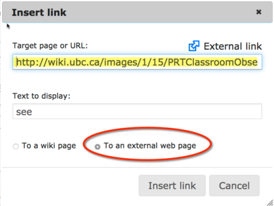 creating a hyperlink to open a pdf directly from a wiki page