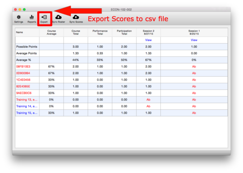 Export Scores to csv file
