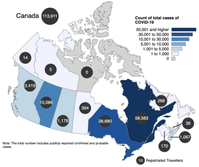 The count of total cases of COVID-19 in Canada was 113,911 as of July 26, 2020.