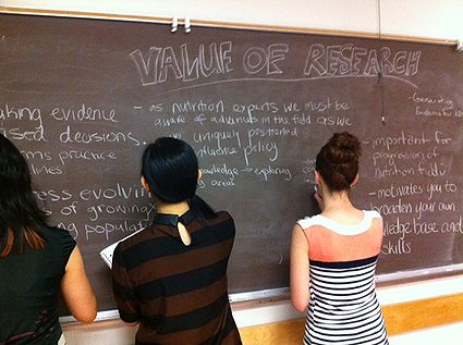 "Students writing on blackboard with title ""Value of Research"""